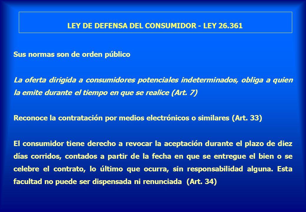 LEY DE DEFENSA DEL CONSUMIDOR - LEY 26.361