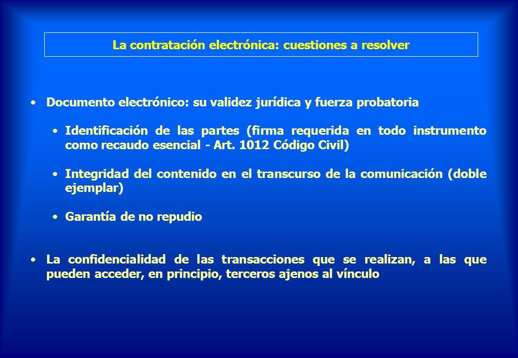 La contratación electrónica: cuestiones a resolver