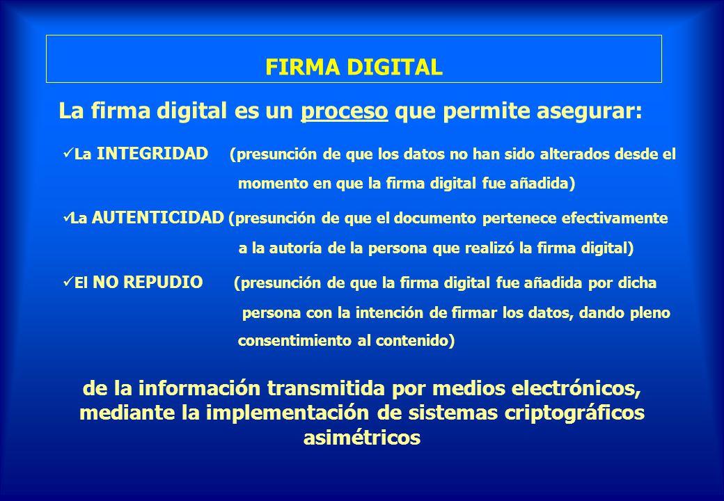 La firma digital es un proceso que permite asegurar: