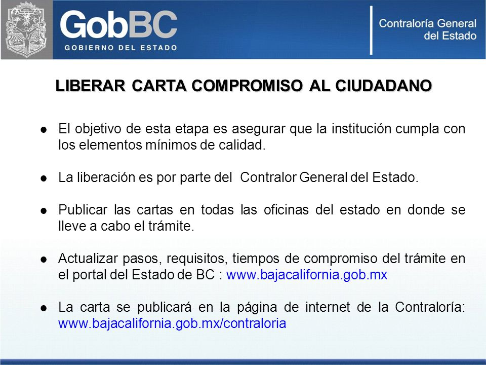 LIBERAR CARTA COMPROMISO AL CIUDADANO