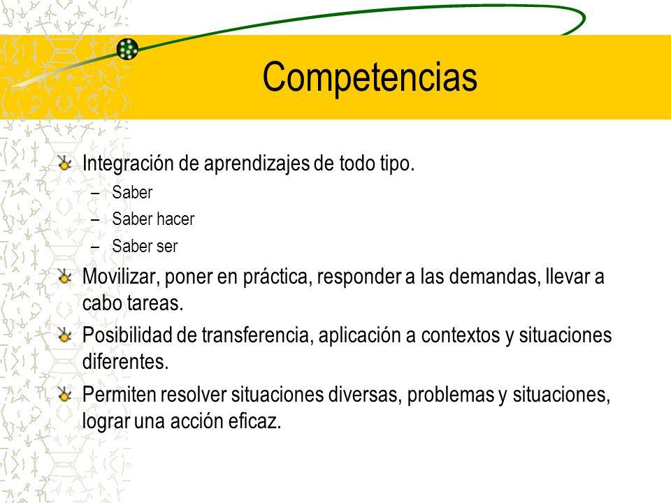 Competencias Integración de aprendizajes de todo tipo.
