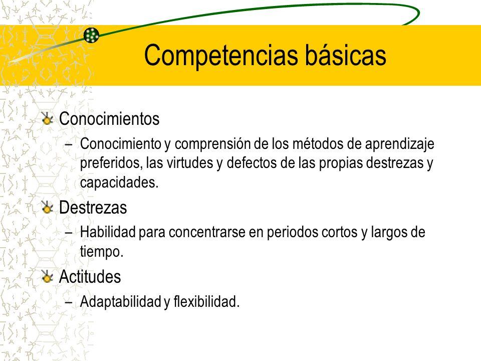 Competencias básicas Conocimientos Destrezas Actitudes