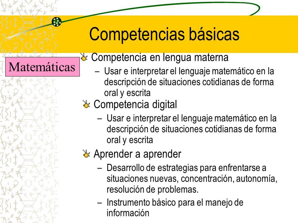 Competencias básicas Matemáticas Competencia en lengua materna