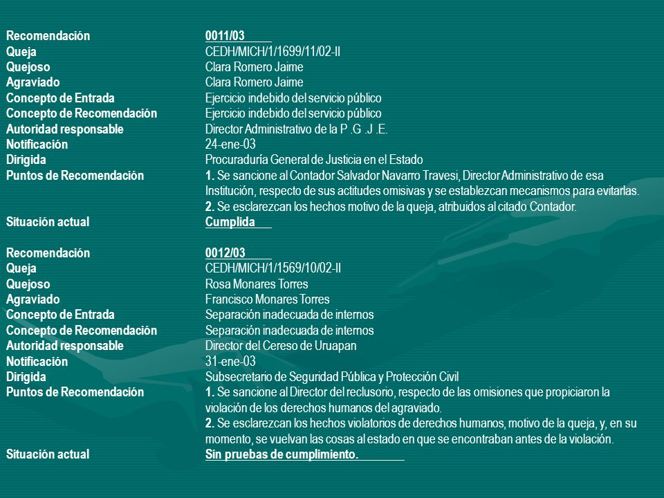 Recomendación 0011/03 Queja CEDH/MICH/1/1699/11/02-II. Quejoso Clara Romero Jaime. Agraviado Clara Romero Jaime.