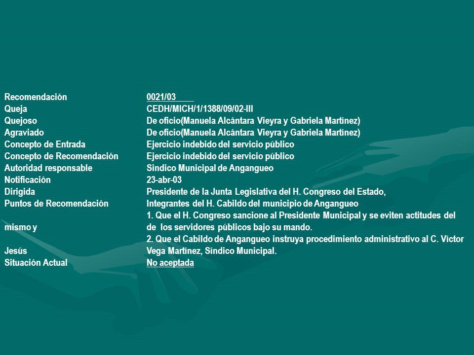 Recomendación 0021/03 Queja CEDH/MICH/1/1388/09/02-III. Quejoso De oficio(Manuela Alcántara Vieyra y Gabriela Martínez)