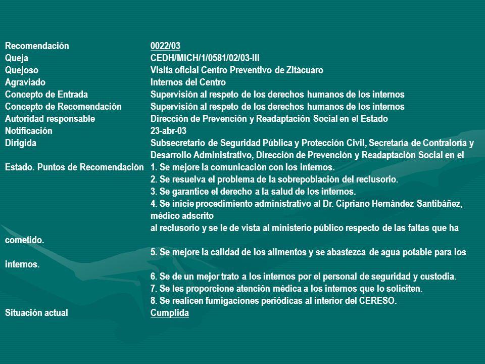 Recomendación 0022/03 Queja CEDH/MICH/1/0581/02/03-III. Quejoso Visita oficial Centro Preventivo de Zitácuaro.