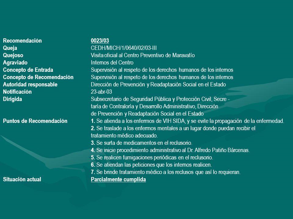 Recomendación 0023/03 Queja CEDH/MICH/1/0640/02/03-III. Quejoso Visita oficial al Centro Preventivo de Maravatío.