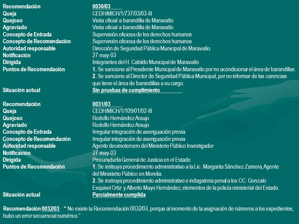 Recomendación 0030/03 Queja CEDH/MICH/1/737/03/03-III. Quejoso Visita oficial a barandilla de Maravatío.