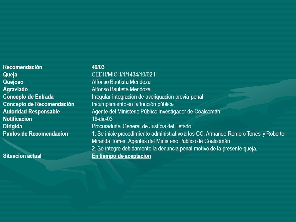 Recomendación 49/03 Queja CEDH/MICH/1/1434/10/02-II. Quejoso Alfonso Bautista Mendoza. Agraviado Alfonso Bautista Mendoza.