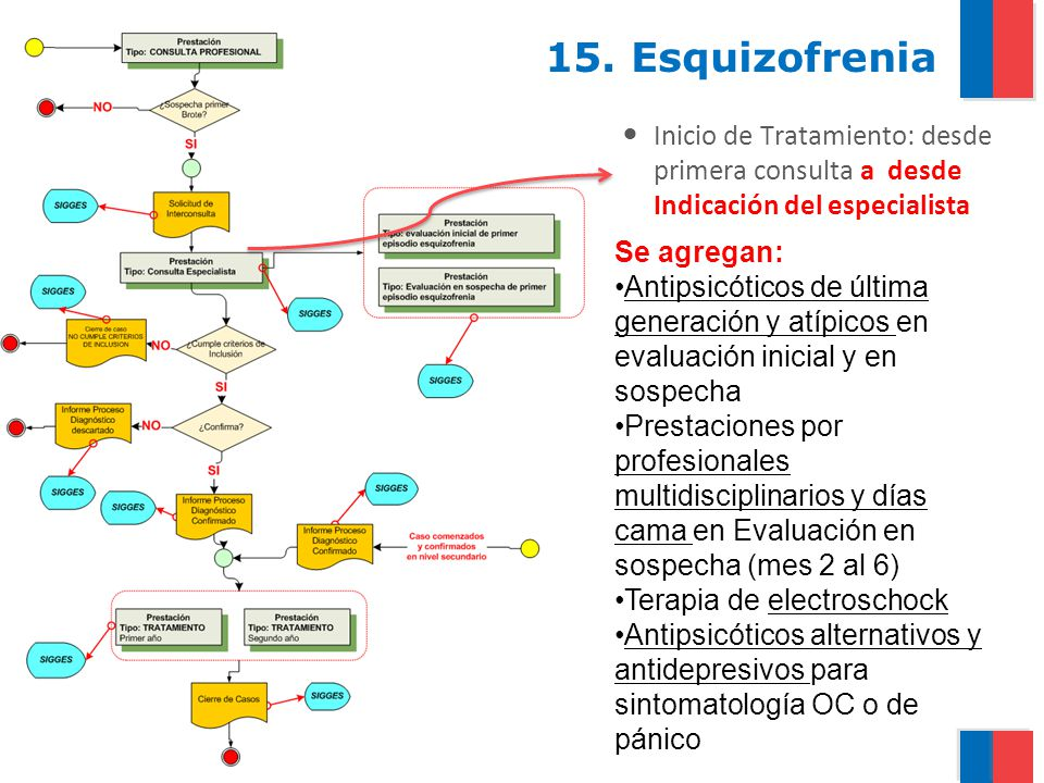 15. Esquizofrenia Inicio de Tratamiento: desde primera consulta a desde Indicación del especialista.