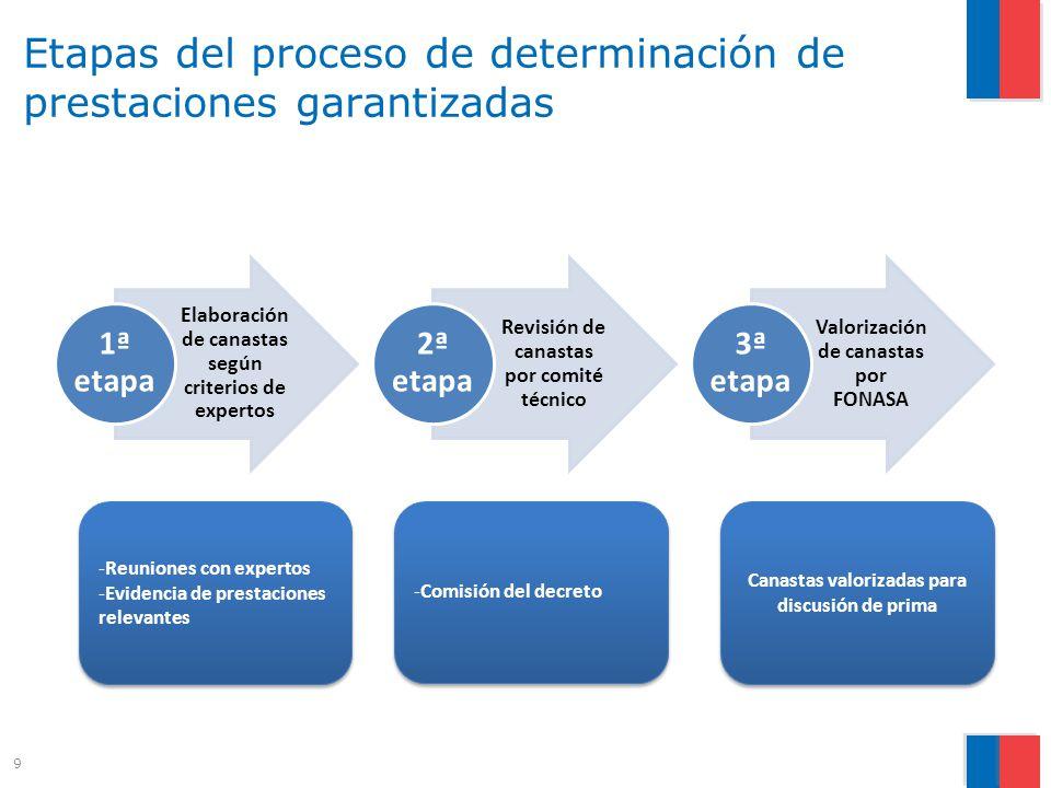 Etapas del proceso de determinación de prestaciones garantizadas