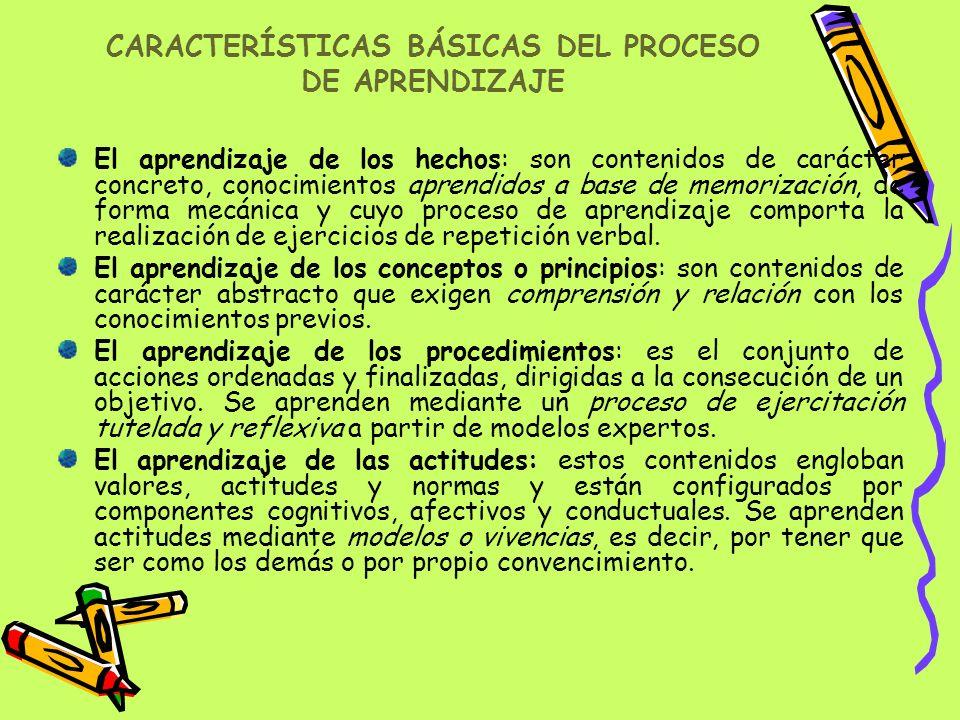 CARACTERÍSTICAS BÁSICAS DEL PROCESO DE APRENDIZAJE