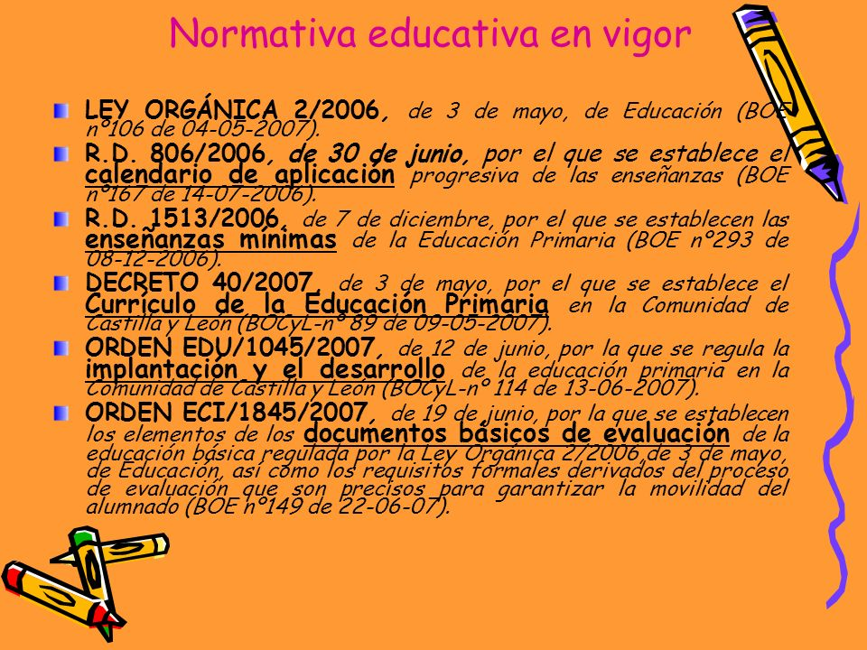 Normativa educativa en vigor