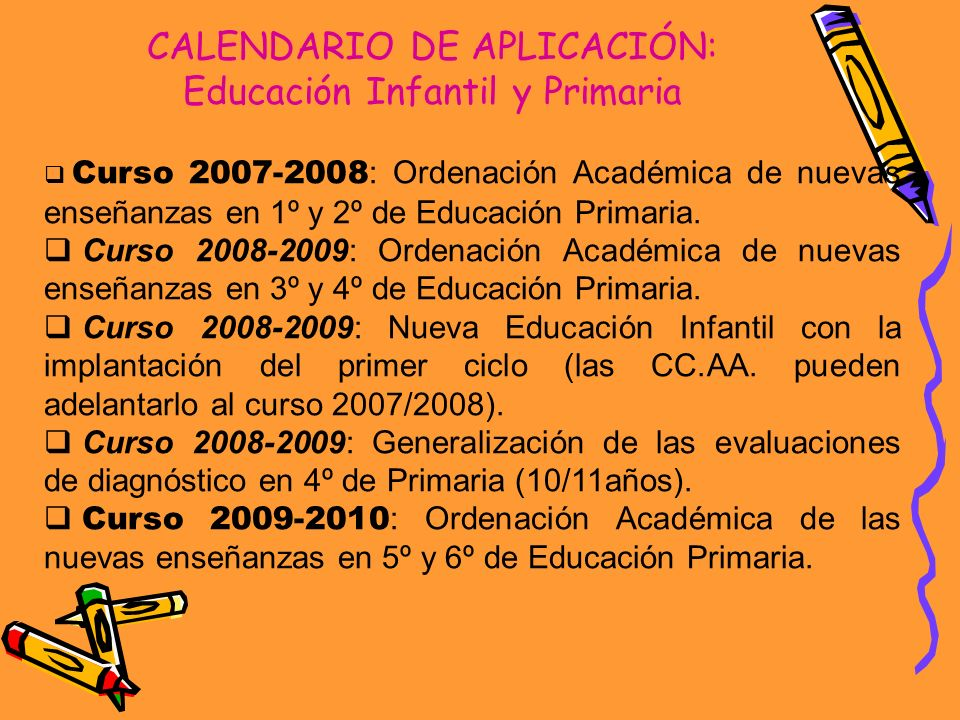 CALENDARIO DE APLICACIÓN: Educación Infantil y Primaria
