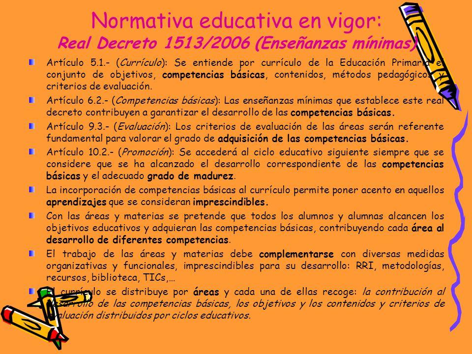 Normativa educativa en vigor: Real Decreto 1513/2006 (Enseñanzas mínimas)