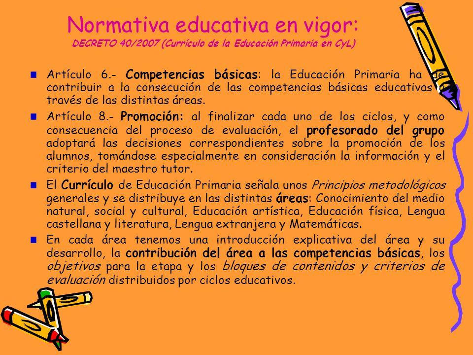 Normativa educativa en vigor: DECRETO 40/2007 (Currículo de la Educación Primaria en CyL)