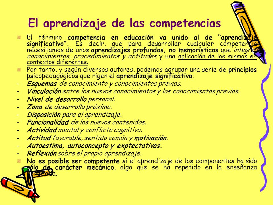 El aprendizaje de las competencias