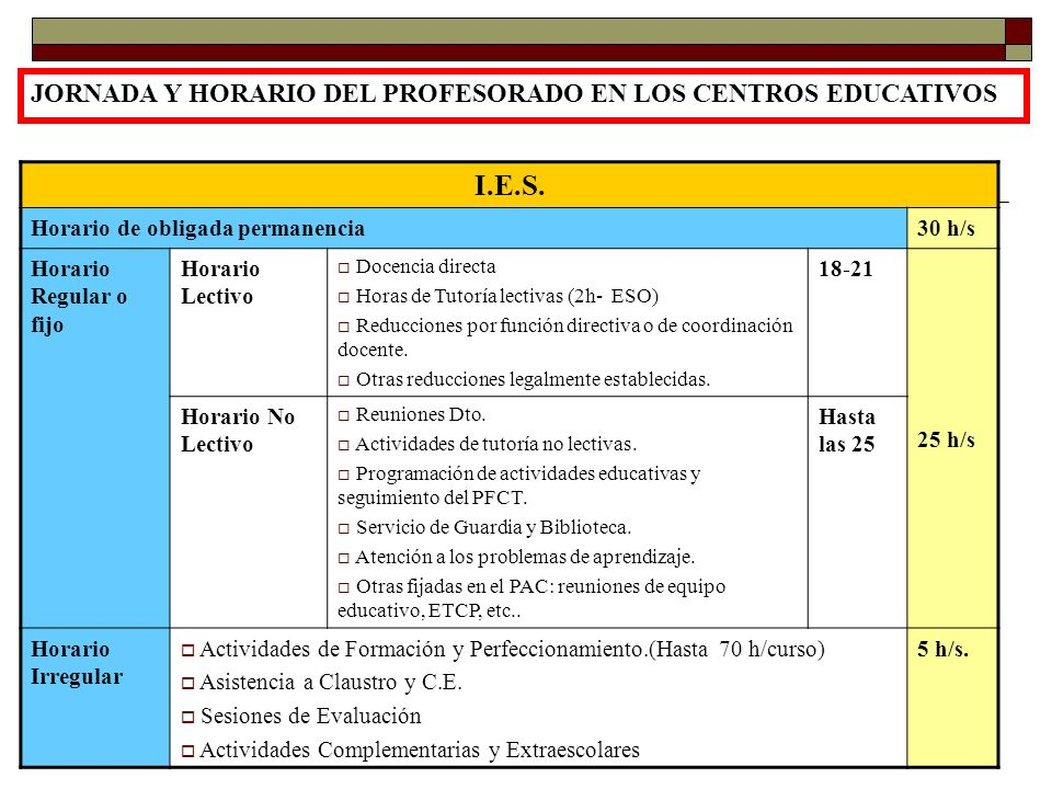 I.E.S. JORNADA Y HORARIO DEL PROFESORADO EN LOS CENTROS EDUCATIVOS