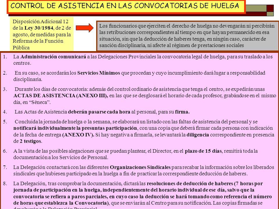 CONTROL DE ASISTENCIA EN LAS CONVOCATORIAS DE HUELGA