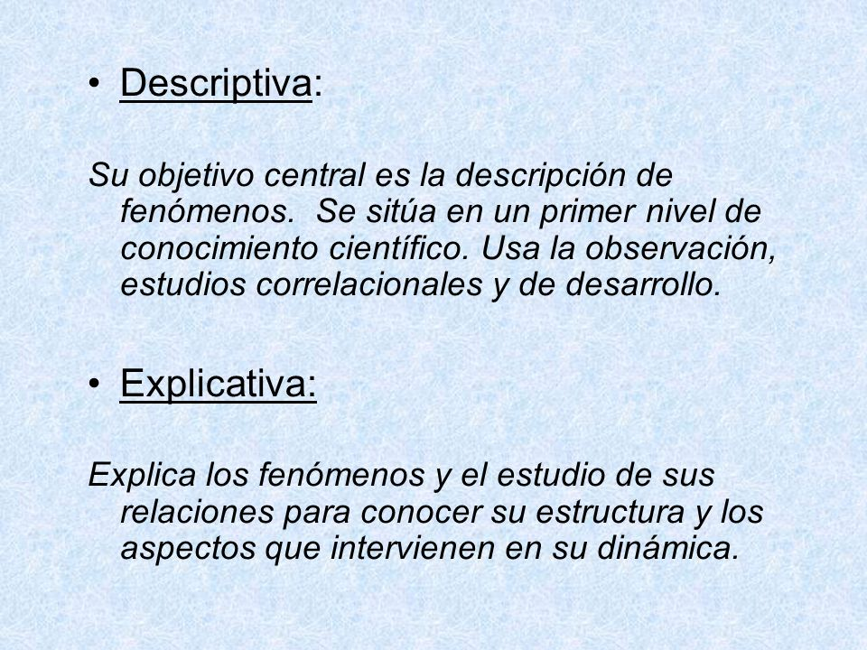Descriptiva: Explicativa: