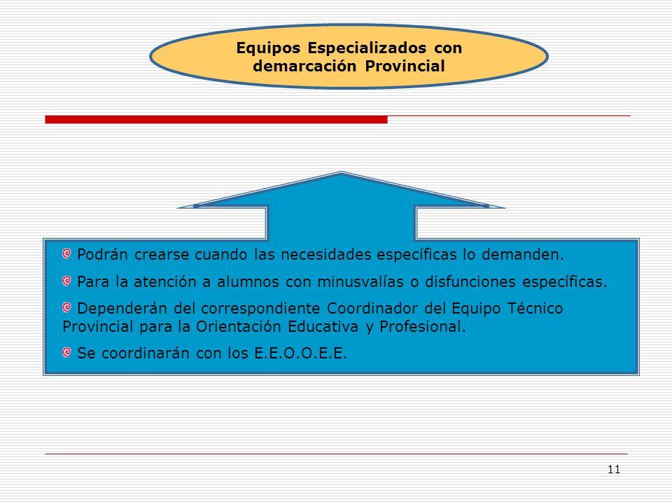 Equipos Especializados con demarcación Provincial