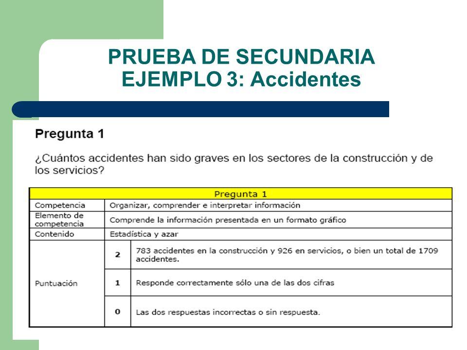 PRUEBA DE SECUNDARIA EJEMPLO 3: Accidentes