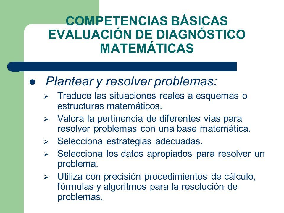 COMPETENCIAS BÁSICAS EVALUACIÓN DE DIAGNÓSTICO MATEMÁTICAS