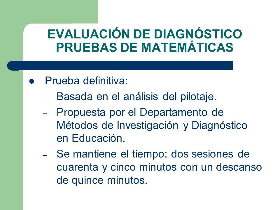 EVALUACIÓN DE DIAGNÓSTICO PRUEBAS DE MATEMÁTICAS