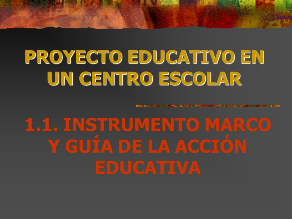 PROYECTO EDUCATIVO EN UN CENTRO ESCOLAR