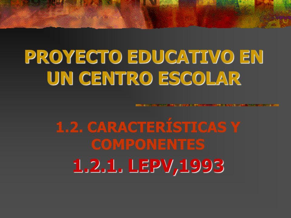 PROYECTO EDUCATIVO EN UN CENTRO ESCOLAR 1.2.1. LEPV,1993