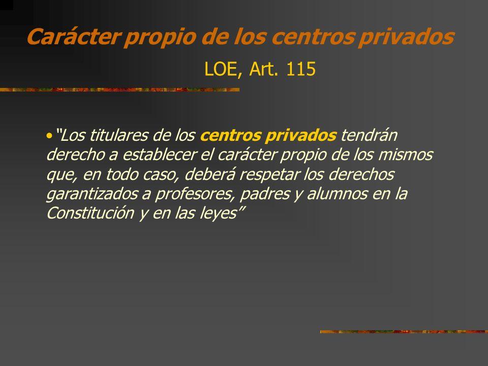 Carácter propio de los centros privados