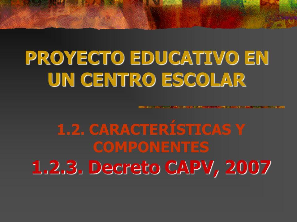 PROYECTO EDUCATIVO EN UN CENTRO ESCOLAR 1.2.3. Decreto CAPV, 2007