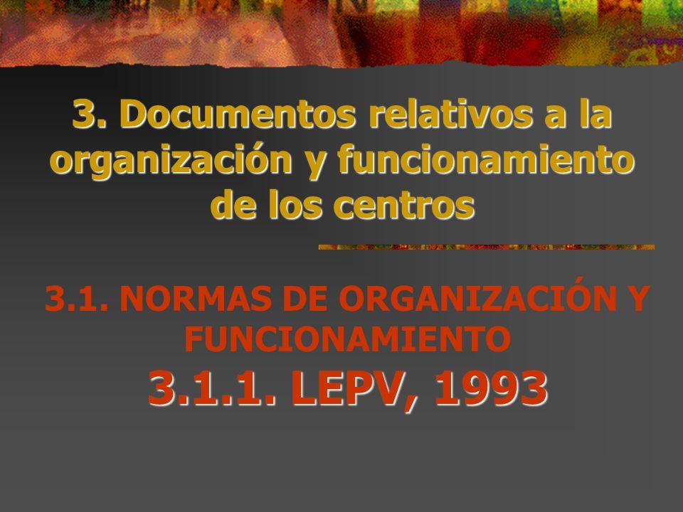 3.1. NORMAS DE ORGANIZACIÓN Y FUNCIONAMIENTO