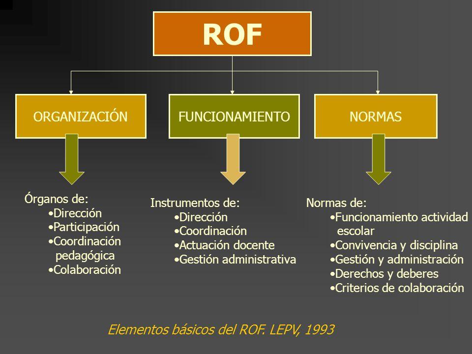 ROF ORGANIZACIÓN FUNCIONAMIENTO NORMAS