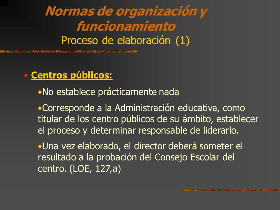 Normas de organización y funcionamiento Proceso de elaboración (1)