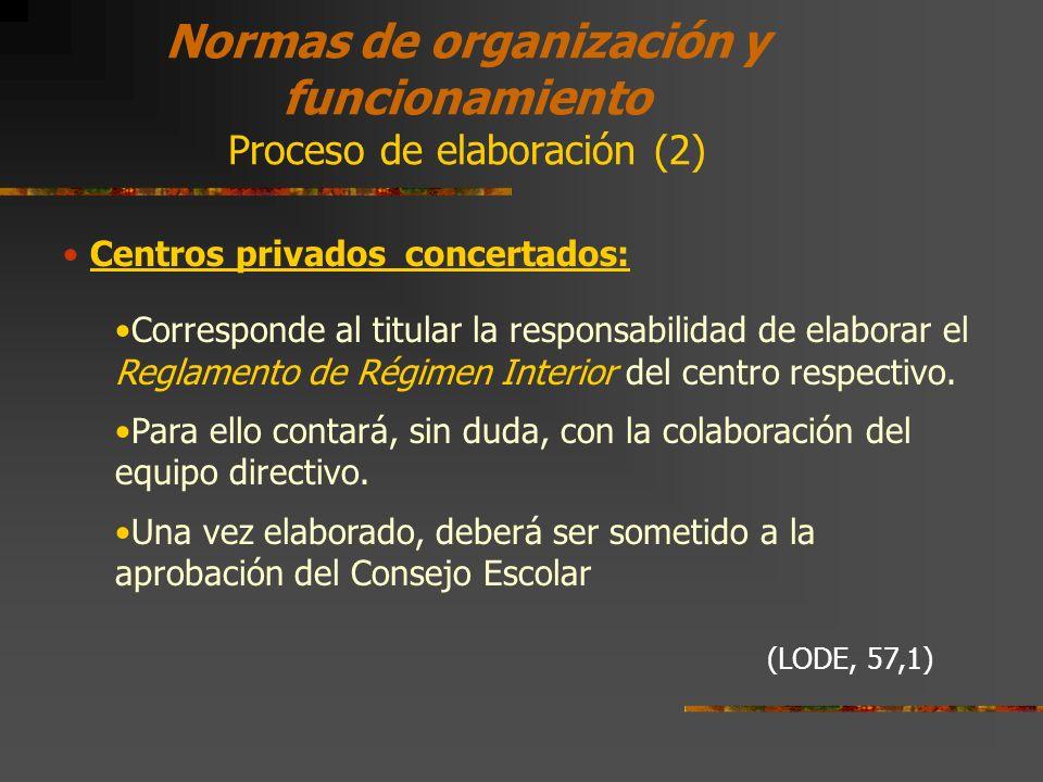 Normas de organización y funcionamiento Proceso de elaboración (2)