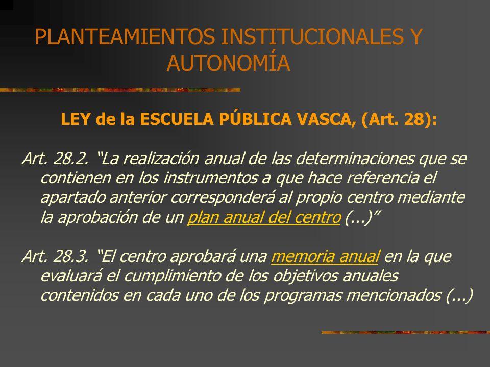 LEY de la ESCUELA PÚBLICA VASCA, (Art. 28):