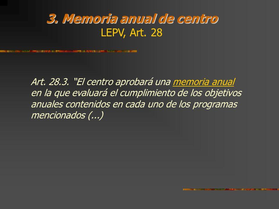 3. Memoria anual de centro LEPV, Art. 28