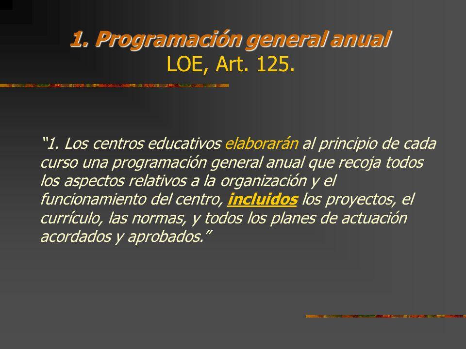 1. Programación general anual LOE, Art. 125.