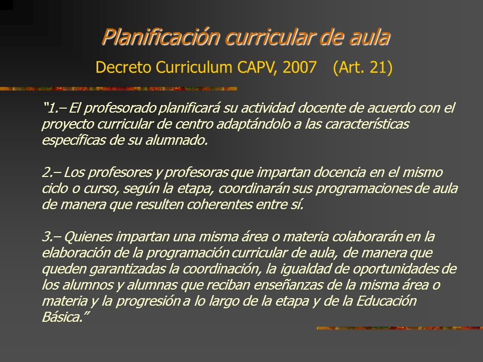 Planificación curricular de aula