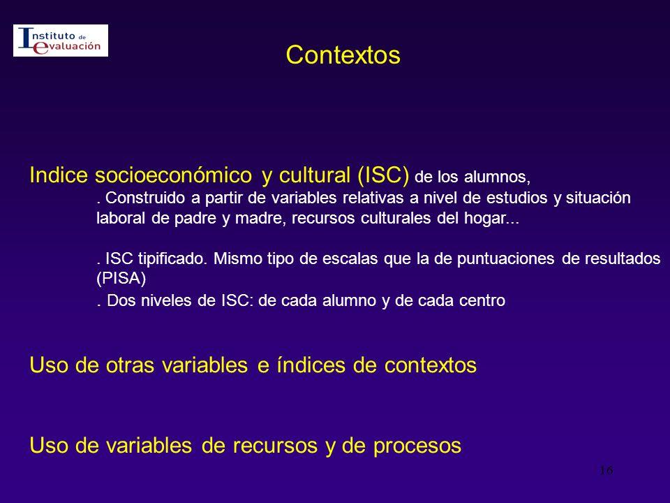 Contextos Indice socioeconómico y cultural (ISC) de los alumnos,