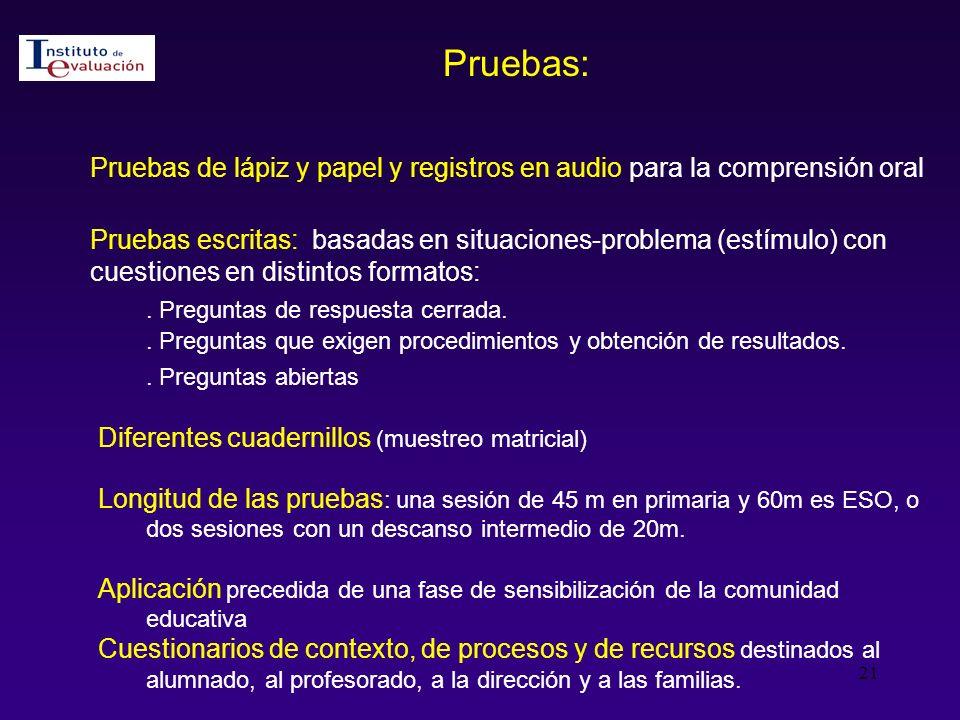 Pruebas: Pruebas de lápiz y papel y registros en audio para la comprensión oral.