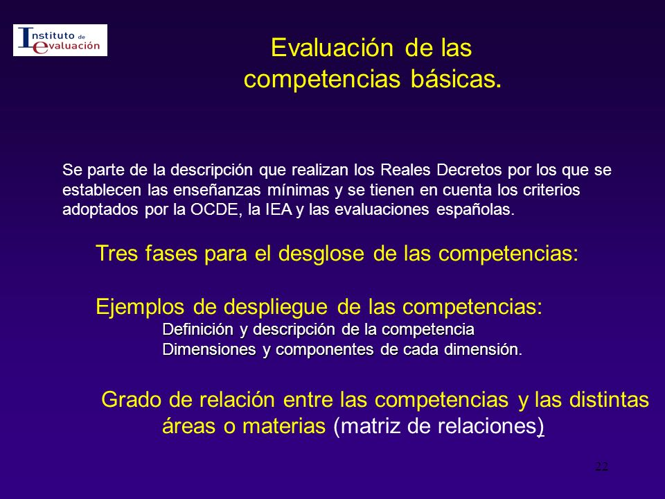 Evaluación de las competencias básicas.