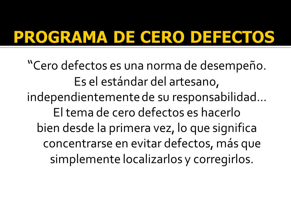 PROGRAMA DE CERO DEFECTOS