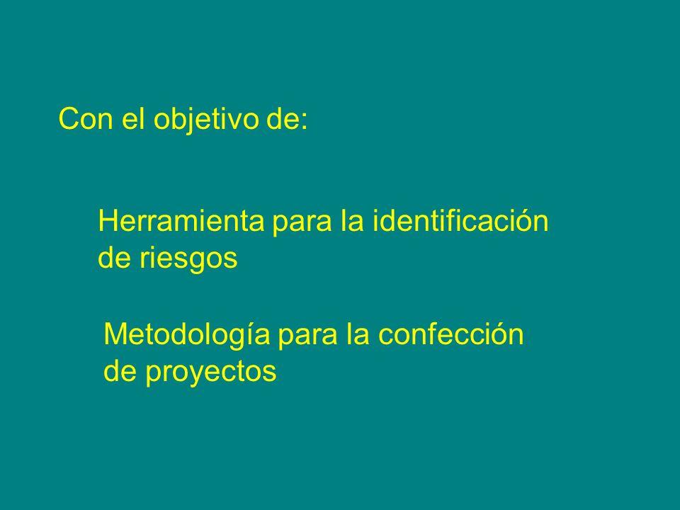 Con el objetivo de: Herramienta para la identificación. de riesgos. Metodología para la confección.