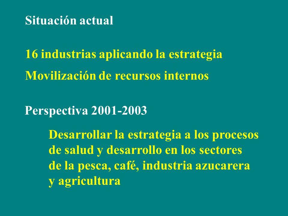 Situación actual 16 industrias aplicando la estrategia. Movilización de recursos internos. Perspectiva 2001-2003.