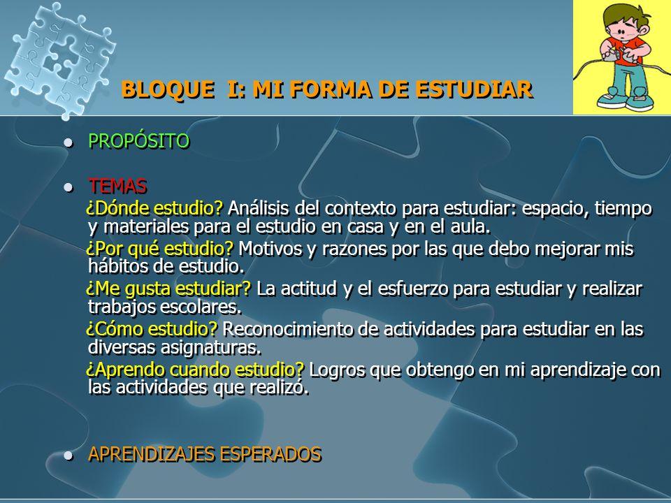 BLOQUE I: MI FORMA DE ESTUDIAR
