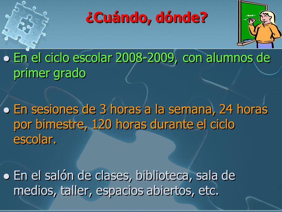 ¿Cuándo, dónde En el ciclo escolar 2008-2009, con alumnos de primer grado.