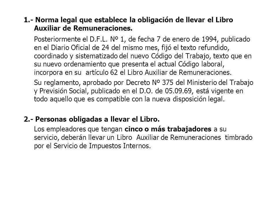 1.- Norma legal que establece la obligación de llevar el Libro Auxiliar de Remuneraciones.