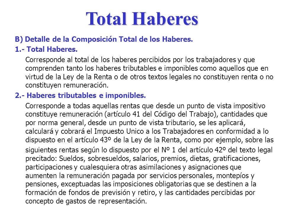 Total Haberes B) Detalle de la Composición Total de los Haberes.
